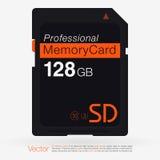 顶视图SD存储卡 筹码查出内存 免版税库存图片