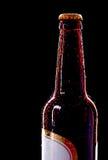 顶部的啤酒瓶弄湿了 免版税图库摄影