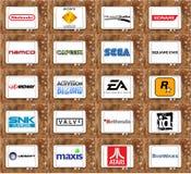顶面著名电子游戏公司和开发商商标 库存照片