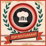 顶面餐馆标志,葡萄酒样式 免版税库存照片