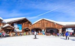顶面Verdons推力驻地 滑雪胜地Courchevel 1850 m 免版税库存照片