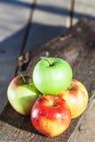 顶面wiew美味的四苹果 免版税库存照片