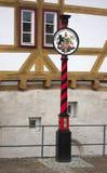 顶饰在柱子-魏布林根-德国 库存照片