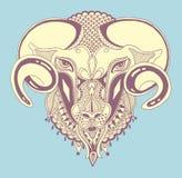 顶头山羊,装饰图画原始的剪影  库存图片