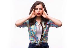顶头痛苦 女孩对负顶头在手上 免版税图库摄影