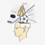 顶头箱子:关于体育和啤酒的人想法 体育迷 库存图片