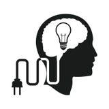 顶头脑子想法电灯泡插座引擎 免版税库存照片