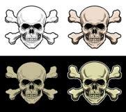顶头头骨有横渡的骨头背景 库存例证