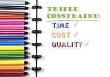 项目管理三倍在白色写生簿的限制文本与颜色笔,顶视图 库存照片