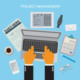 项目管理,平的传染媒介例证 库存例证