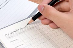 项目计划概念 空白的企业规划图形式 空的项目计划图细节任务的 免版税库存图片