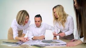 项目,书桌,设计,建筑学,图纸,剪影, 股票视频