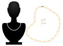 项链和耳环从珍珠 库存照片