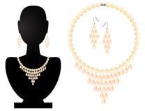 项链和耳环从珍珠 免版税库存图片