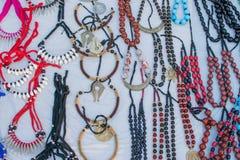 项链,在显示的工艺品在公平的工艺品期间 库存照片