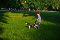 顽皮男童使用与在一块绿色沼地的小狗在公园 库存照片