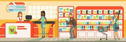 顾客人排队在有出纳员的收银处在超级市场,存放室内设计水平的传染媒介例证 向量例证