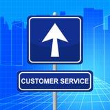 顾客服务代表询问台和广告 免版税库存照片