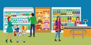 顾客服务和运作的过程在超级市场 库存例证