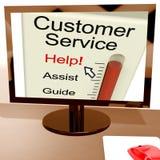 顾客服务帮助米在网上显示协助和支持 库存图片
