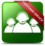 顾客服务队象绿色正方形按钮 库存图片