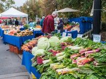 顾客浏览菜显示在Corvallis农夫市场上, 免版税图库摄影