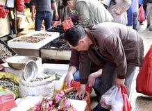 顾客购买蛤蜊在第8个市场上 库存照片