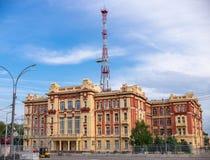 顿河畔罗斯托夫,俄罗斯- 2018年5月18日:北高加索俄国铁路管理大厦在顿河畔罗斯托夫 库存照片