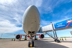 顿河畔罗斯托夫,俄罗斯- 2018年6月17日:波音Rossiya航空公司777-300ER  库存图片