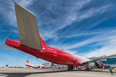 顿河畔罗斯托夫,俄罗斯- 2018年6月17日:波音Rossiya航空公司777-300ER  免版税库存图片