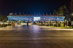 顿河畔罗斯托夫,俄罗斯- 2018年6月15日:罗斯托夫橄榄球杯的竞技场体育场2018年 库存图片