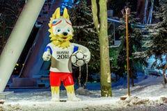 顿河畔罗斯托夫,俄罗斯- 2018年1月19日:2018年世界杯足球赛的正式吉祥人叫Zabivaka 免版税库存图片