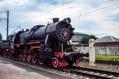顿河畔罗斯托夫,俄罗斯- 2011年9月1日:TE-322机车在交通博物馆 库存照片