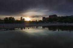 顿河畔罗斯托夫,北存贮池塘 免版税库存照片