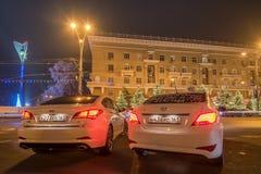 顿河畔罗斯托夫,大约2016年12月的俄罗斯:现代i40和现代Solaris 免版税图库摄影