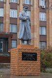 顿涅茨克,乌克兰- 2017年11月02日:对苏联法警谢苗・布琼尼的纪念碑 库存照片