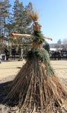顿涅茨克- 2月22 :庆祝俄国人Maslenitsa节日我 免版税库存图片