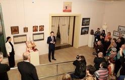 顿涅茨克- 2月16 :陈列的开头 免版税库存照片