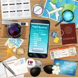 预定与许多的网上飞行app旅行对象 免版税库存图片