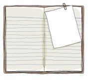 预定葡萄酒和备忘录笔记有纸夹背景 库存图片