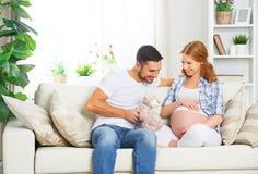 预期婴孩诞生的愉快的家庭  怀孕的woma 免版税库存图片