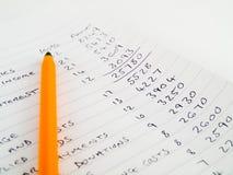 预算值手写的家庭被排行的纸张 免版税库存照片