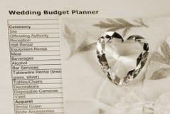 预算值计划程序婚礼 库存图片