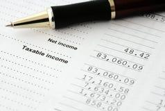 预算值计算的所得税 库存照片