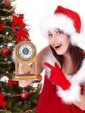 预警圣诞节时钟冷杉女孩结构树 免版税库存图片
