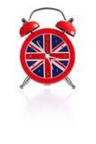 预警英国时钟标志 免版税库存照片