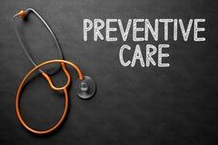 预防保健手写在黑板 3d例证 免版税图库摄影