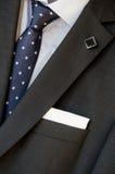 翻领、口袋正方形和领带 免版税库存图片