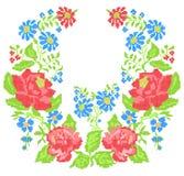 领口刺绣(十字绣)与玫瑰 库存照片