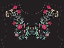 领口的, T恤杉的,女衬衫,衬衣衣领刺绣 免版税库存图片
